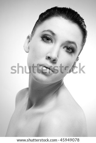Beauty Portrait of woman. Black And White
