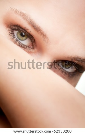 Beauty portrait of woman with green nice eyes - stock photo