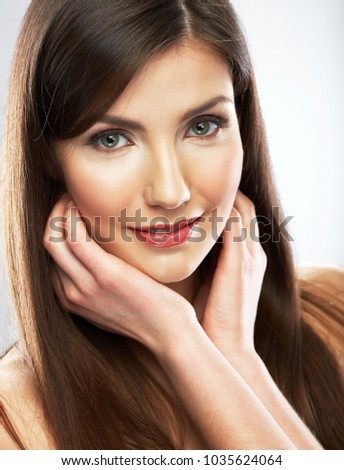Beauty portrait of woman with long hair. Isolated close up portrait.