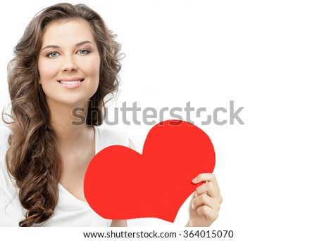 beauty portrait of young attractive caucasian smiling woman isolated on white studio shot with red heart valentine's day love