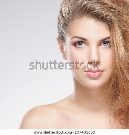 Beauty portrait of young attractive woman - stock photo