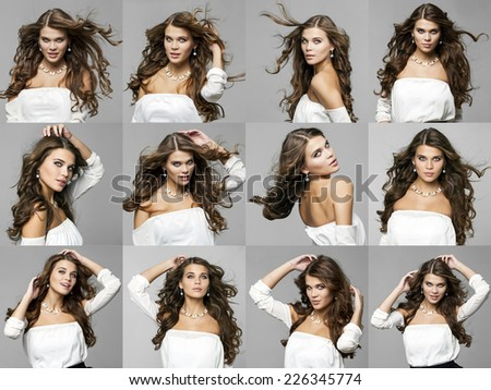 Beauty portrait of young attractive woman, isolated on gray - stock photo