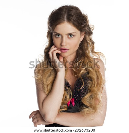 Beauty portrait of young attractive woman, isolated on white background  - stock photo