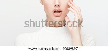 Beauty portrait of young attractive woman with natural makeup. Beautiful female face. Closeup photo.  - stock photo