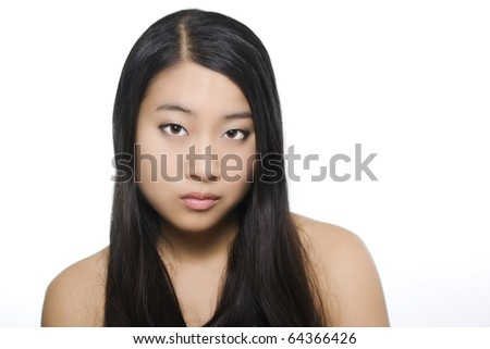 Beauty portrait of young beautiful asian model on white background