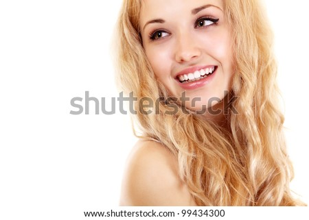 Beauty portrait of young beautiful woman happy smiling with long blond hair. Isolated on white background - stock photo