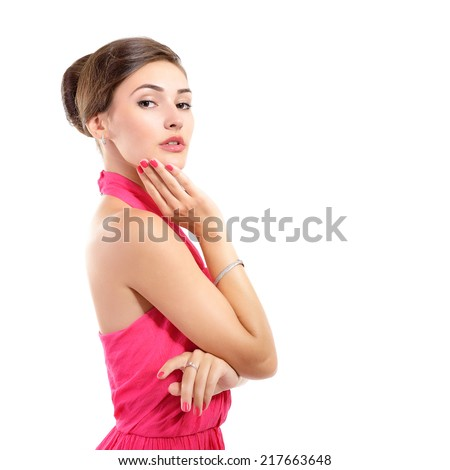 Beauty portrait of young fresh attractive woman in pink dress - stock photo