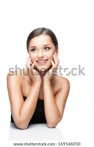 beauty portrait of young smiling caucasian brunette woman isolated on white