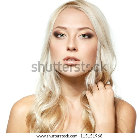 Beauty portrait of young smiling girl with blond hair. Isolated on white background - stock photo