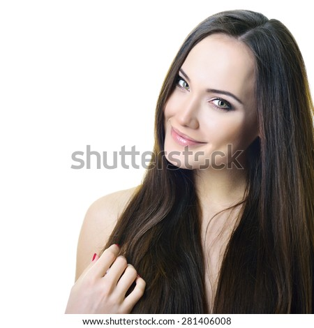Beauty portrait of young woman with beautiful healthy face and hair, studio shot of attractive girl over white background - stock photo