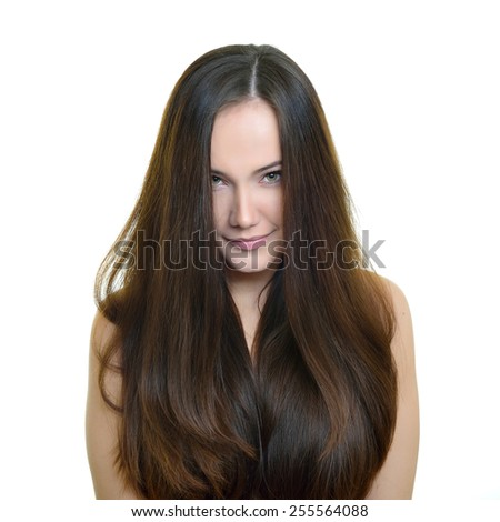 Beauty portrait of young woman with beautiful healthy face and long hair, studio shot of attractive girl over white background - stock photo
