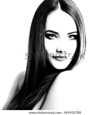 Beauty portrait of young woman with beautiful healthy face, black and white - stock photo