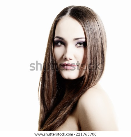 Beauty portrait of young woman with beautiful healthy face, studio shot of attractive girl, high key - stock photo