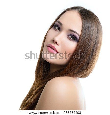 Beauty portrait of young woman with beautiful healthy face, studio shot of attractive girl over white background