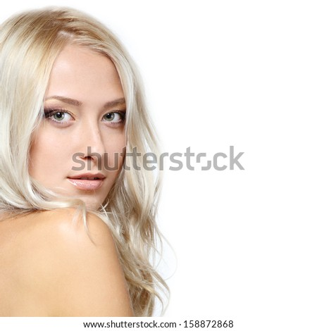 Beauty portrait of young woman with beautiful healthy face with nice day makeup looking at camera, studio shot of attractive girl on white background