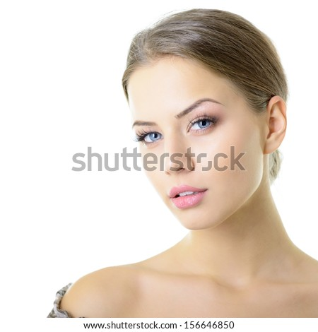 Beauty portrait of young woman with beautiful healthy face with nice day makeup, studio shot of attractive girl over white background