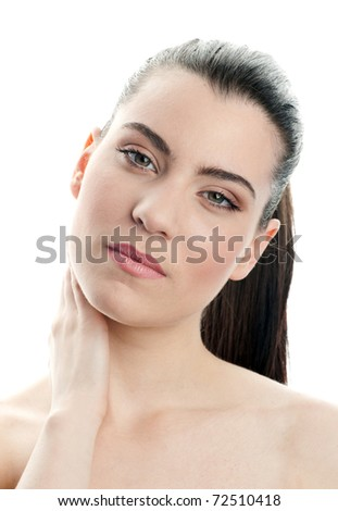 beauty portrait of young woman with perfect make up - stock photo
