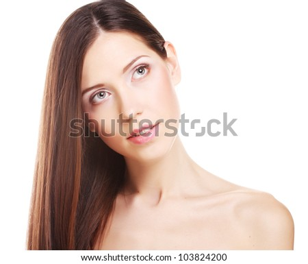 beauty portrait with beautiful bright brown long hair isolated on white background - stock photo