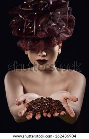 beauty portrait with coffee - stock photo