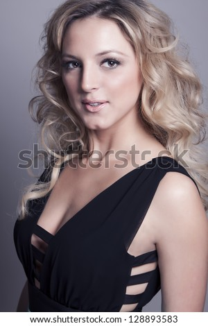 beauty portrait young woman with blonde shiny hair