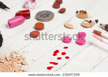 beauty products on white wood table  - stock photo