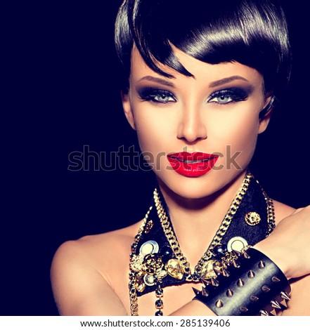 Beauty Punk Fashion Model Girl Rocker Stock Photo - Haircut girl model