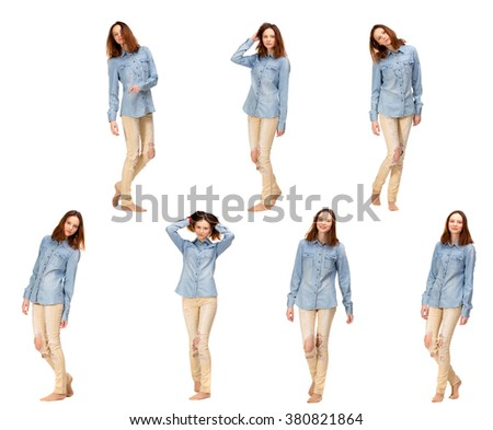 Beauty red girl in jeans shirt, isolated on white