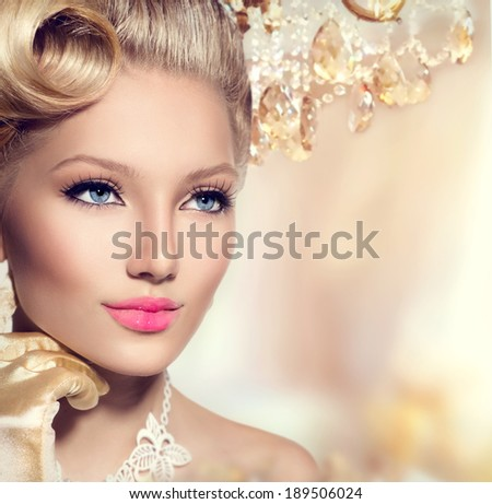 Beauty Retro Woman Portrait. Glamour Lady. Vintage styled Girl with perfect make up and hairstyle. Luxury interior - stock photo