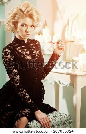 Beauty rich luxury woman like Marilyn Monroe. Beautiful fashionable girl in  retro interior  - stock photo