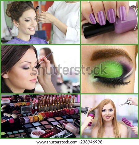 Beauty salon collage - stock photo