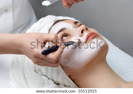 beauty salon series. facial mask applying - stock photo
