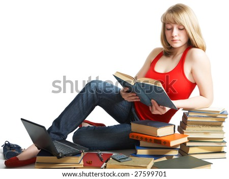 beauty schoolgirl with book on white background