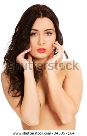 Beauty sensual caucasian topless woman. - stock photo