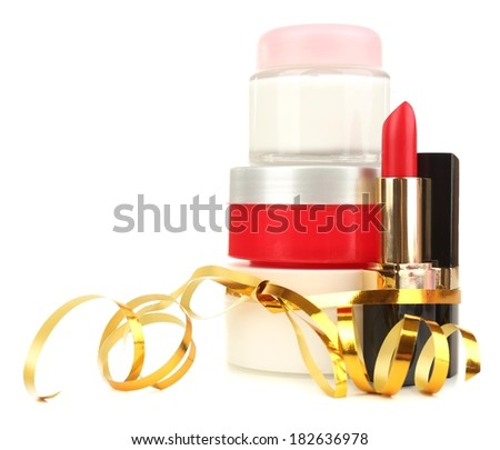 Beauty set gift isolated on white - stock photo