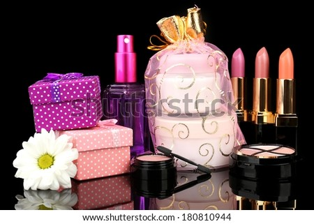 Beauty set gift on black background - stock photo