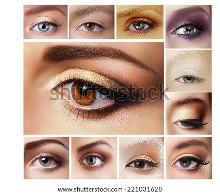 Beauty Set of Eyeshadow. Mascara. Mix of Women's Eyes - stock photo