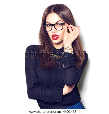 Beauty sexy fashion model girl wearing glasses isolated on white