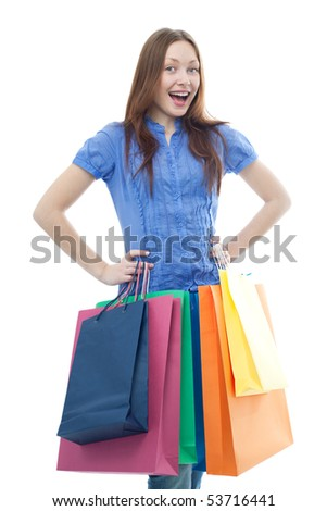 beauty shopping woman with colored bags on white background