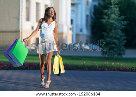 beauty shopping woman with  papper bag - stock photo