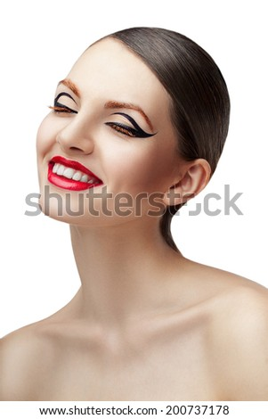 Beauty shot of a smiling woman with creative make up