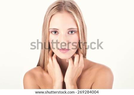 Beauty shot of young blonde woman - soft light