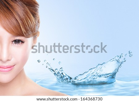 Beauty Skin care concept, Beautiful woman face with Water splashes isolated on blue background, asian model - stock photo