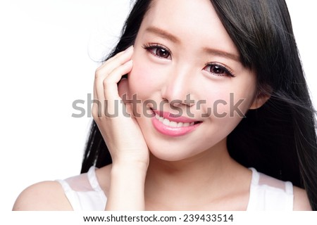 Beauty Skin care concept, Beautiful woman smile face with health teeth and hair isolated on white background, asian - stock photo