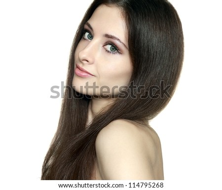 Beauty skin care woman face and long hair smiling calm and looking. Closeup isolated portrait on white background