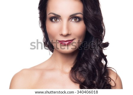 Beauty, skincare. Gorgeous brunette on a white background - stock photo