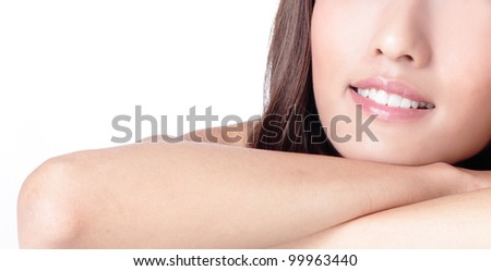 beauty smile lip amd mouth close up isolated on white background, model is a asian woman