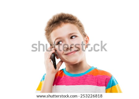 Beauty smiling child boy hand holding mobile phone or talking smartphone white isolated - stock photo