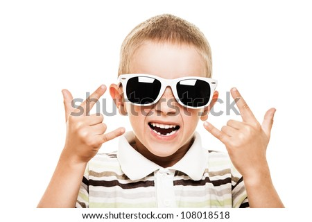 Beauty smiling child boy in sunglasses gesturing white isolated - stock photo