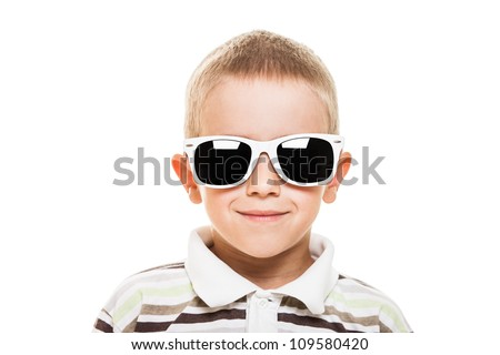 Beauty smiling child boy in sunglasses white isolated - stock photo