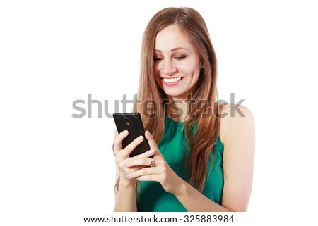 Beauty smiling woman using and reading a woman using isolated on a white background - stock photo